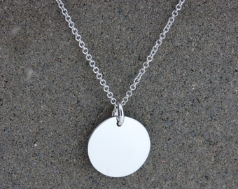 Personalised Silver Medium Disc Necklace - Free Engraving