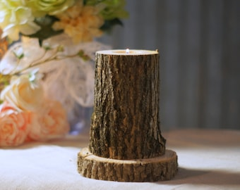 Custom Wedding Candle, Wood Wedding Centerpiece, Rustic Wedding Table Decor, Log Candle Holder, Wedding aisle, Reception decor, Rustic Decor