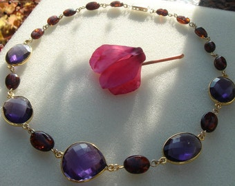 Necklace with amethyst and amber, unusual combination!