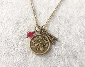 Aquarius necklace,zodiac Aquarius,Aquarius zodiac necklace,zodiac jewelry Aquarius,zodiac necklace,zodiac sign necklace,horoscope necklace