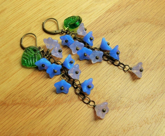 New 1940s Costume Jewelry: Necklaces, Earrings, Pins 1930s Forget me not earrings 30s inspired blue flower earrings czech glass earrings. $17.42 AT vintagedancer.com