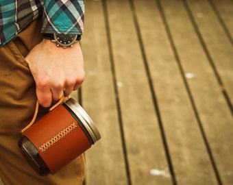 Personalized Leather Coffee Mug, Travel Mug, Beer Mug, Travel Coffee Cup, Hipster Gift, Leather Ball Mason Jar Mug Sleeve,Leather Cup Holder