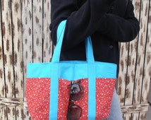 Small Red And Blue Floral Tote Bag