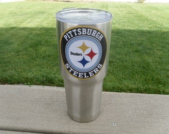 Pittsburgh Steelers YETI RTIC Tumbler Decal Sticker FREE  Fast Shipping! Buy 2 Get 1 Free! Best Seller! Only Here! Custom Text Option!