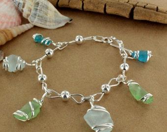 Blue & Green Sea Glass Charm Bracelet