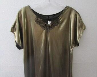 15-1020 Vintage 1980's Gold Blouse / Gold Lauren Lee Blouse / Disco Blouse / Gold Polyester Blouse / 80s Gold Top / Shirt / American Vintage