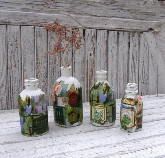 Set Of 4 Decorative Decoupage Bottle Kitchen By Annaeliyagray