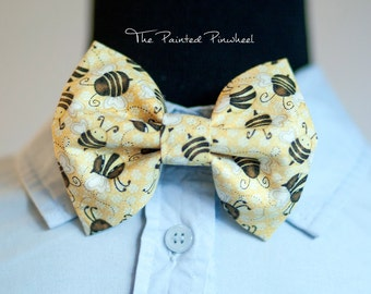 Bees on Yellow Animal Patterned Bow, Bow Tie, Pocket Square