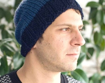 Mens beanie knit hat mens slouchy hat mens slouchy beanie knit slouchy beanie winter mens beanie mens hat mens slouchy knitted hats for men