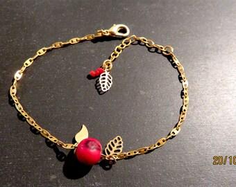 "Bracelet ""Amazon"". Red Acai seed of the Brazil."