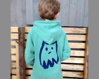 Lille FYR Hooded Jacket / Hoodie with Monster screen printing for children
