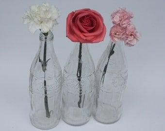 Vintage Clear Glass Coca Cola Bottles Set of 3