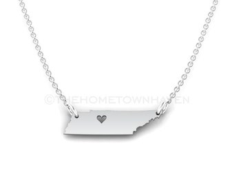 Tennessee Necklace, I heart Tennessee necklace, Tennessee map necklace