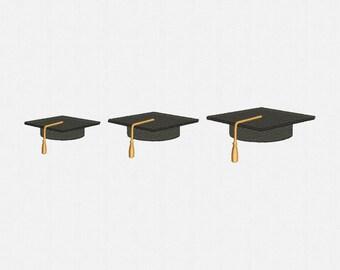 Mini Graduation Hat Machine Embroidery Design - 3 Sizes