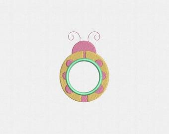 Ladybug Frame Monogram Applique Machine Embroidery Design - 1 Size