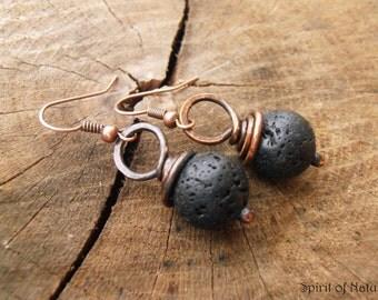Black lava earrings Black minimal earrings Small drop earrings Copper dangle earrings Copper wire wrap earrings minimalist earrings