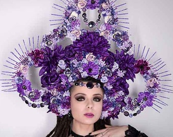 Huge purple floral headdress, headpiece with beads and artificial flowers