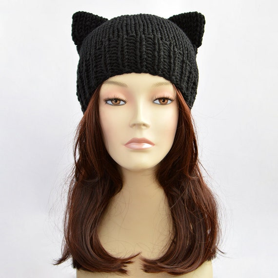 Knitting Pattern For Beanie With Ears : Black Cat Hat Cat Ears Cat Ear Hat Womens Cat Beanie Cat