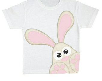 "40% OFF white Tshirt kids ""Fluffy""-digital print Bunny"