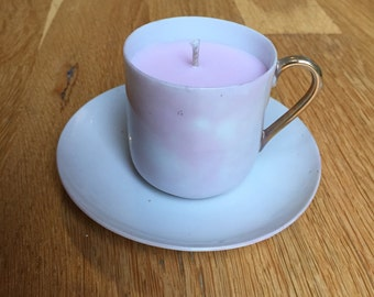 Scented Soy tea cup candle pink scented Sandalwood