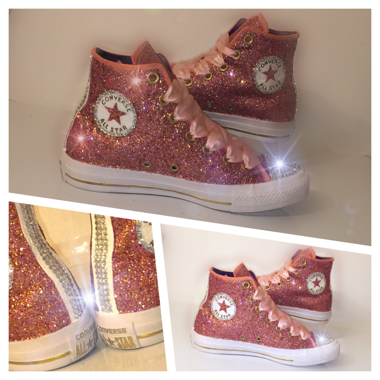 womens metallic rose gold glitter converse all by crystalcleatss. Black Bedroom Furniture Sets. Home Design Ideas
