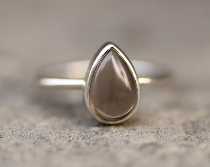 Smoky quartz silver Ring Natural Brown Stone May Birthstone Simple Minimalist Vintage Engagement Jewelry Stacking Yellow Solid Gold Ring