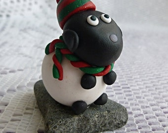 Christmas sheep Christmas decoration or ornament handmade with polymer clay