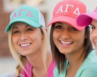 Greek Letter Trucker Hat, Sorority Trucker Hat, Monogram Trucker Hat, Sorority Hat, Big Little Gift, Bid Day, Sorority Rush