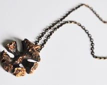 Modernist Vintage Bronze Reindeer Moss Pendant and Chain Finland 1970's