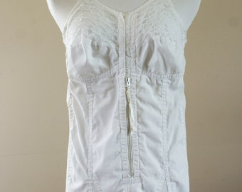 1950's Full Body Corset/Girdle White Cotton w/ Stocking Garters by Nemo Style 24750 Sheer Half Cup Size L-XL Made in Canada BT-420