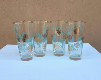 David Douglas Pinecone Libbey Glass Tumblers Drinking Glasses Gold and Turqouise  Mid Century Barware 1960s