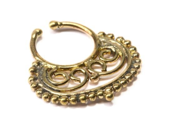 Septum Ring Brass Nickel Free Septum Fake Septum Tribal Jewelery Indian Nose Ring B20 Gift Boxed and Gift Bag Free UK Delivery