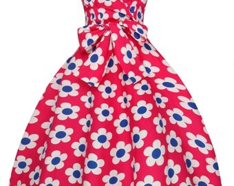 Sarah-P daisy floral vintage 50's retro rockabilly swing dress
