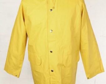 Vintage Yellow Fisherman Coat Jacket Anorak Waterproof Rain Mac Mens Small