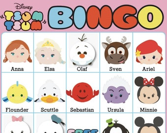 Tsum Tsum Bingo Cards ~ 10 Unique Cards with EXTRA LARGE calling cards for little hands — Instant Digital Download