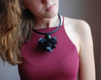 Black Rubber Necklace, Contemporary Handmade Accessories, Small Black Flower Necklace