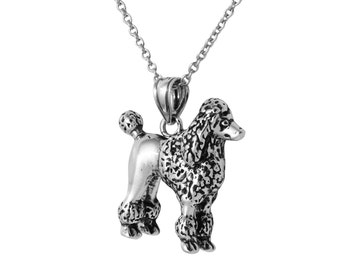 POODLE 3D Dog Necklace in Sterling Silver, Dog Jewelry, Animal Jewelry, Poodle Jewelry  FD-25-25