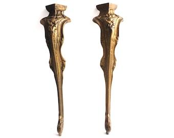 Table Legs. Set Of 2 Pcs Antique Brass Table Legs. Antique Decoration  Hardware For