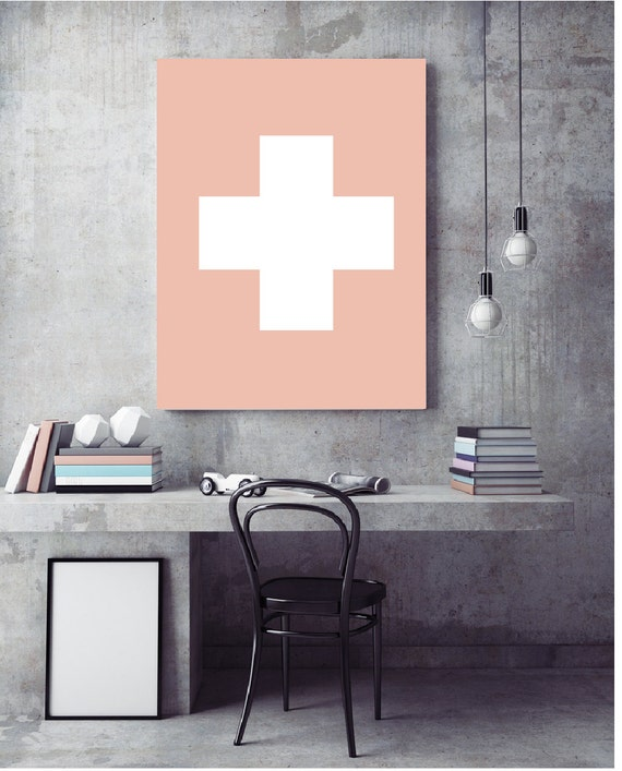 Swiss cross printable decor for home office blush pink for Home office switzerland