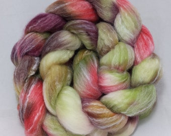 handdyed merino/bamboo roving( combed top )for spinning or felting-4.5 oz.