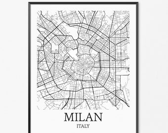 Milan Map Art Print, Milan Poster Map of Milan Decor, Milan City Map Art, Milan Gift, Milan Italy Art Poster