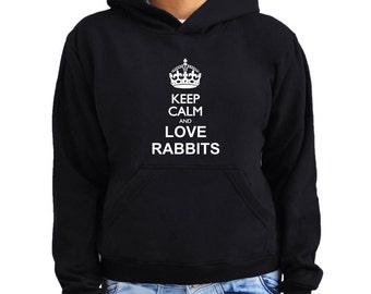 Keep calm and love Rabbit Women Hoodie