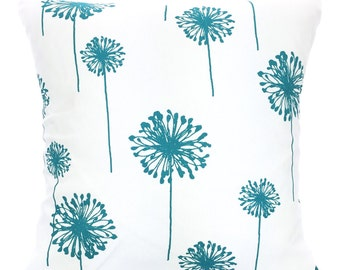 Turquoise Pillow Covers, Decorative Throw Pillows, Cushions, True Turquoise White Dandelion, Aqua, 12 x 16 or 12 x 18