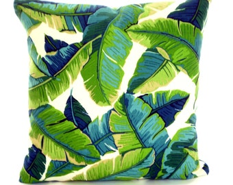 OUTDOOR Tropical Pillow Covers, Palms Green Aqua Throw Pillows, Cushions Navy Blue Aqua Ivory Patio Beach, Palm Leaves One or More All Sizes