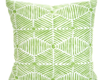 Green Decorative Throw Pillow Covers, Cushion Covers, Kiwi Green Geometric Pillows, Couch Pillows, Heni, Throw Pillow, One or More All Sizes