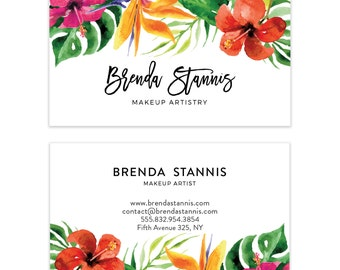 Tropical Watercolor Flowers Business Card Design - Calligraphic Premade Business Card - Printable Business - Calling Card - Graphic Design