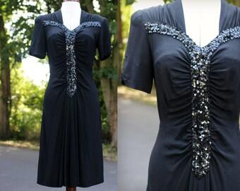 1940s 40s Vintage Black Rayon Sequin Detail Evening Dress UK 10 8 medium small swing dancing dance balboa
