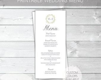 Sage/Gray Printable Wedding Menu | Whimsical | Garden Wedding | Madeline Collection | Custom Colors Available