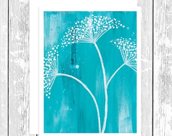 "NOTECARD: Pure Bliss - White Baby's Breath Flower on Teal, White Baby's Breath on Turquoise 4.25"" x 5.5"" A2 Greeting Card, Gift for Her"