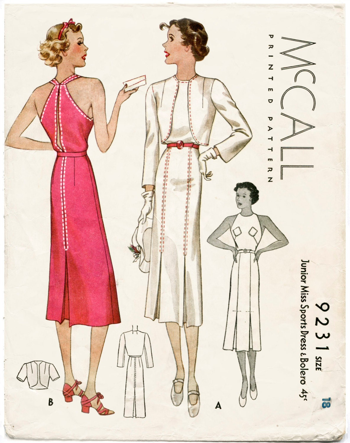 1930s 30s vintage women's sewing pattern halter dress